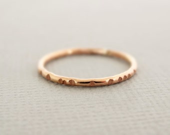 Rose Gold Stackable Ring notched ring pink gold ring thin stacking rings thumb ring gifts for women under 25 rose gold jewelry
