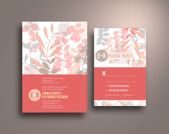 EMMA Red Floral Silhouette Flat Card Wedding Invitation