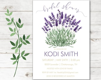 Personalized Bridal Shower Wedding Invitations and Envelopes with Watercolor Lavender Flowers in Sage Green and Purple NVB8009