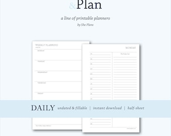 Daily Print & Plan Planner | undated and fillable |  instant download | half-sheet size