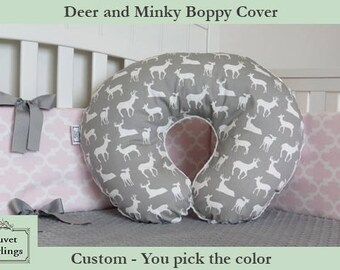 Deer and Minky Boppy Cover - Boppy Pillow Cover, Nursing Pillow, Pink, Blue, Navy, Yellow, Brown, Black, Red, Gray, Green