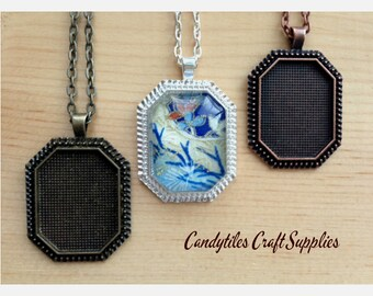 Pendant trays bezels and glass tile supplies by candytilesstudio diy octagon pendant tray necklace kit22x30mmcludes chains glass inserts traysmix and match color trays aloadofball Gallery