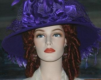 Kentucky Derby Hat Ascot Edwardian Tea Hat Titanic Hat Somewhere in Time Hat Downton Abbey Women's Purple Hat - La Rienne