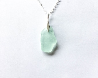 Sea glass 'Barricane' seafoam pendant on sterling silver, rare beach glass, sea glass jewellery, seaglass jewelry, mermaid