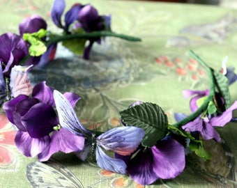 Enchanted Faerie Flower & Leaf Crown - Wreath - Tiara - Headband - Prom - Bridal - Wedding - Halloween