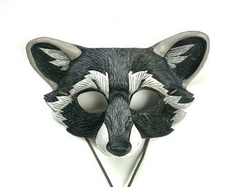 Raccoon Leather Mask Realistic Gray Raccoon Mask