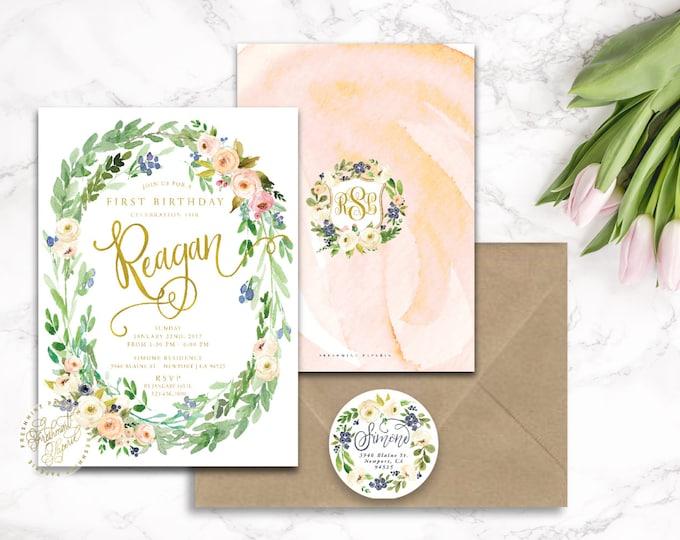 First Birthday - first birthday invitation - birthday invitation - watercolor floral invitation - freshmint paperie - 501
