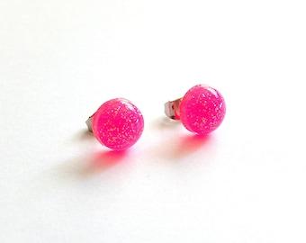 Round Pink Stud Earrings, Resin Round Earrings, UV Reactive Rave Jewelry