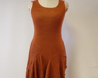Sale, feminine foxy coloured linen dress, M size. Perfect for Summer.