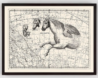 Constellation Print with Pegasus horse, Map Celestial Chart Print with horse, Pegasus Art, Horse Art, Celestial Chart