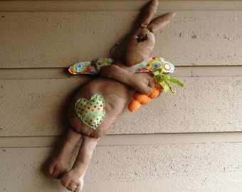 Primitive Flying Bunny Easter Angel Cloth Doll