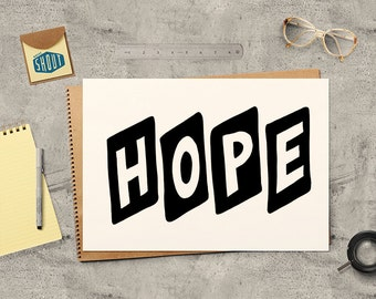 HOPE, Typographic Print, Inspirational Quote, Hope Print, Motivational Poster, Quotes, Typography, Hand Drawn, Hope Poster, Hand Lettered