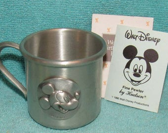 Vintage Hudson Pewter Walt Disney Productions Mickey Mouse Baby (Child's) Cup #4326