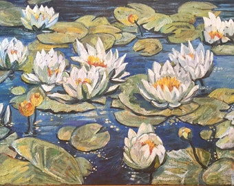Romantic wall art Valentine's gift for her Impressionism art White water lily Water lilies art Lilies painting Lilly pond Nature wall art