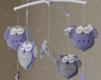Sale!! Lilac and grey owl mobile musical cot mobile owl woodland purple lilac lavender grey nursery