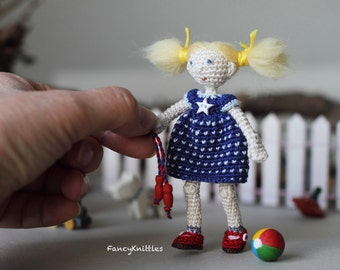 July 4th Miniature Fancy Doll, Americana Crochet Doll, Amigurumi, Stars and Stripes Dress, Blond Collectable, Blue White Red, Independence