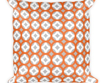 Pillow, Throw Pillow, Pillow Cover, Cushion, Decorative Pillow, Contemporary modern home decor, Modern style throw pillow. Orange white gray