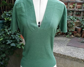 Vintage style emerald green knitted top size UK 10