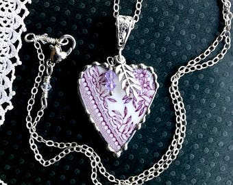 Necklace, Broken China Jewelry, Broken China Necklace, Heart Pendant, Lavender Transferware, Sterling Silver