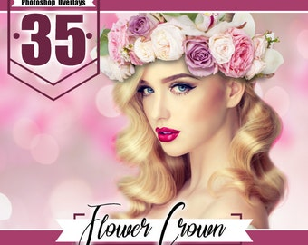 35 Beautiful flower hair wreath, flower crown photo overlays, photoshop overlay, fairy wedding baby girl children session, PNG files