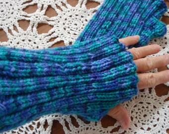Adorable Hand Knit Fingerless Gloves. Variegated Blue Green Purple Lavender.