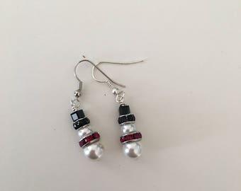 Swarovski crystal snowman earrings
