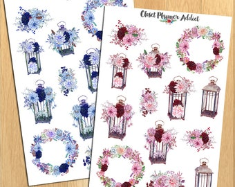 Watercolour Floral Lamps Planner Stickers | Watercolour Flowers | Blue Pink Flowers | Watercolour Stickers | Floral Stickers (S-250)