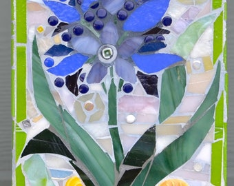 Botanical Blue Flower Glass Mosaic Art