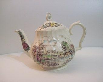 Sadler Teapot Multi-color Transferware in Country Life Pattern