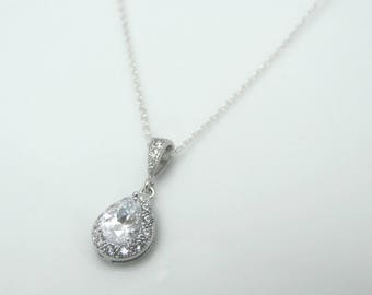 Wedding jewelry, teardrop pendant necklace, CZ pendant necklace, bridesmaid gift