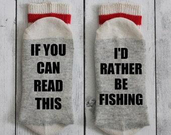 Socks, fisherman, fishing, Christmas gift, if you can read this, I'd rather be fishing, dad, grandpa, birthday, beer socks