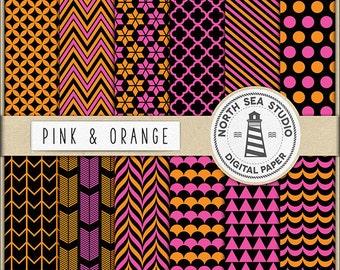 Pink And Orange Digital Paper Pack   Scrapbook Paper   Printable Backgrounds   12 JPG, 300dpi Files   BUY5FOR8