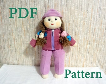 Doll Clothes PDF Pattern  - How To Quickly Sew Costume For Doll From 2 Pair of Socks
