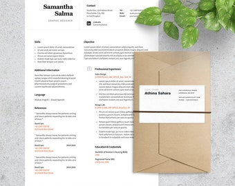 Clean and Professional Resume Template & Cover Letter Included | Format Photoshop and MS Word | Instant Download | 1 Pages