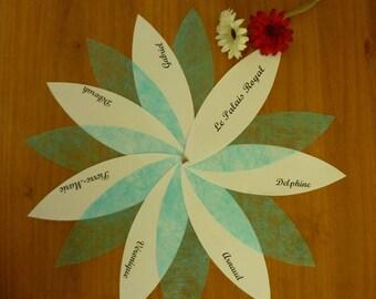 Original table plan for wedding, baptism, communion