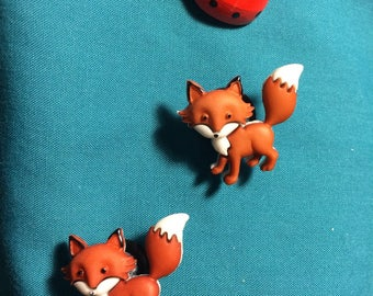 Cute Walking Tail Up FOXES Red Fox Clog Shoe Charms