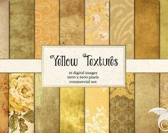 Yellow Digital Paper, yellow textures scrapbook paper, vintage paper textures, scrapbook paper pack, digital antique backgrounds