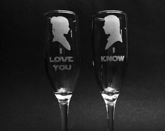 """Star Wars Princess Leia and Han Solo Quote """"I Love You/I Know"""" Champagne Flute Set of 2"""