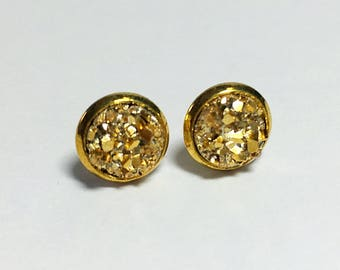 8 mm druzy earrings with gold settings