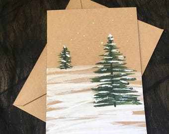 Winter trees hand-painted card