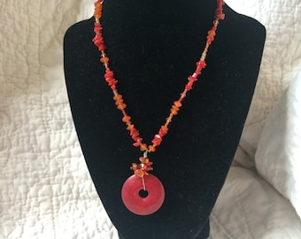 Vintage Red and Orange Glass Beaded Necklace, 18'' Long