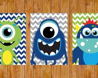 Monster Wall Art Decor Navy Blue Lime Green Toddler Child's Boys Bedroom Set of 3 5x7 Digital JPG Files (200)