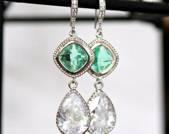 Silver and Sea Glass Diamonds with CZ Teardrops on Crystal Detailed Silver French Earrings