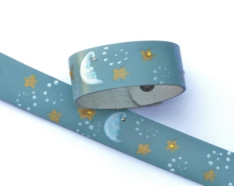 Painted Blue Moon and Stars Cuff Bracelet Celestial Boho Jewelry FREE SHIPPING