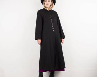 AMAZING Vintage Black Wool Coat / S / hipster jacket coat womens outerwear overcoat oversized coat with button details