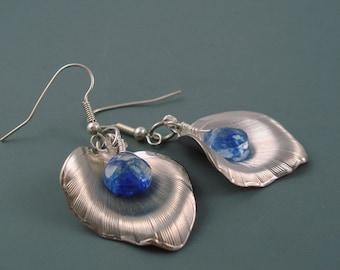 Blueberry Quartz Gemstone Earrings with Vintage Petal Accents