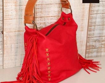 Leather hobo bag, Zippered leather bag, tassel fringe purse, fringe handbag, Gift for woman, Boho leather bag, festival bag, leather fringe