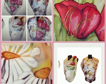 Poppies Silk Scarf. Daisies Hand painted Scarf,  Floral Silk Scarves, Silk Handpainted Scarf, Floral Scarf, Scarf for Her, Handpainted Scarf