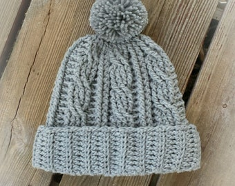 Easy Cabled Crochet Hat pattern