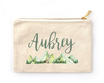 Rustic Watercolor Mountain Range Personalized Cosmetic Bag // Custom Bag /Clutch with Name /Personalized Gift Cosmetic Case / Zipper Pouch